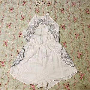 NWT White Embroidered Halter Romper Size Medium